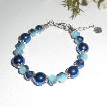 Bracelet en pierres d'hématites bleues avec perles en cristal