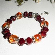 Bracelet en perles en cristal rouge bordeaux et orange