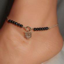Bracelet/chaine de cheville originale en argent 925 avec pierres en hématite et tigre