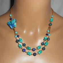 Collier pierres Lapis Lazzuli et Turquoise avec papillon