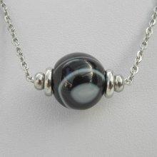 Collier solitaire avec pierre en agate noire marbrée et perles en acier inoxydable