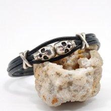 Bracelet homme cuir noir multi-rangs avec perle tête de mort double