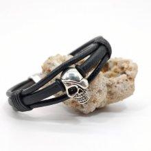 Bracelet tête de mort sur cordons de cuir noir