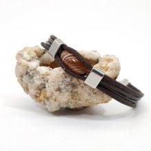 Bracelet agate olive sur cuir marron multi-rangs pour homme