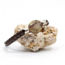 Bracelet pierre palet de jaspe sur cuir marron double-rangs pour homme