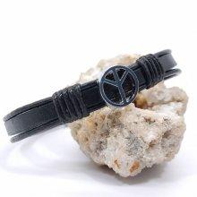 Bracelet peace and love sur cordon de cuir