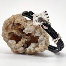 Bracelet homme cuir noir multi-rangs avec poisson raie en métal argent
