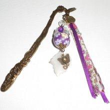 Marque page oiseau avec perles fleuries violette et éléphant bronze
