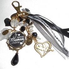Bijoux de sac/porte clefs avec message 'je t'aime maman chérie'et perles noires et blanches