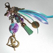 Porte clés/Bijoux de sac fée perles et rubans turquoise violet