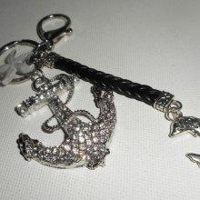 Porte clés/Bijoux de sac ancre marine avec strass et dauphin