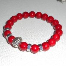 Bracelet en pierres de turquenite rouge et bouddha argent
