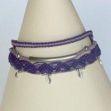Bracelet multi-rangs 3 en 1  mauve et violet