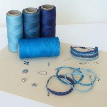 Bijoux en micro-macramé à personnaliser  en 'Nuances de bleu'