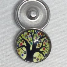 1 BOUTON PRESSION DECORATIF INTERCHANGEABLE 20MM MOTIF ARBRE (A1)