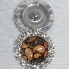 1 BOUTON PRESSION DECORATIF INTERCHANGEABLE EN STRASS IMPRIME MANDALA (M6)