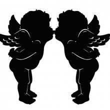 Adhesif sticker ange couple cupidon bisou 23x19 cm