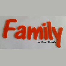Lettre deco Family en plexi , hauteur 30 cm
