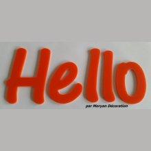 Lettre deco Hello en plexi , hauteur 20 cm