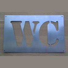 Pochoir deco , lettre metal zinc WC