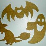 Personnages d' Halloween à décorer ' Fantôme , sorcière et Chauve souris '