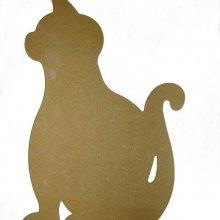 Silhouette de chat assis en bois médium à décorer