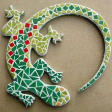 KIT MOSAIQUE DECORATION MURALE LEZARD VERT