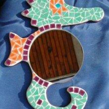 DIY Kit mosaïque  ' Miroir Hippocampe tricolore '