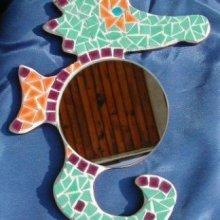 DIY Kit mosaïque  ' Miroir Hippocampe  '