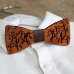 Noeud papillon en bois Français décor bambou