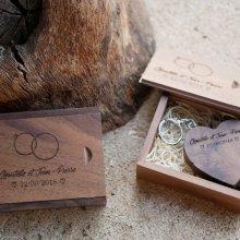 Clé Usb Coeur 16 Go dans coffret personnalisé bois foncé