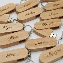 Clé USB bois bambou 32 Go en porte clef à graver et personnaliser