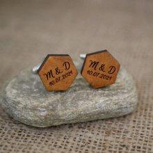 Boutons manchette en bois forme hexagonale  à personnaliser