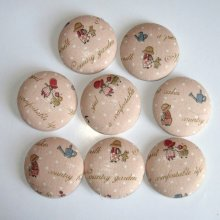 LOT DE BOUTONS RECOUVERTS DE TISSU HOLLY  HOBBIE 4 CM DE DIAMETRE ENVIRON