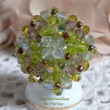 Bague cristal  'Baiser Volé' enchantement de perles