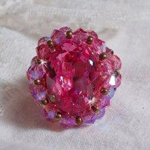 Bague avec un cristal de Swarovski brodée Rose Royale