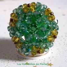 Bague cristal 'Vert Tendre' vert sapin