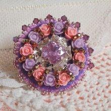 Bague avec des cristaux de Swarovski brodée façon Glace Purple