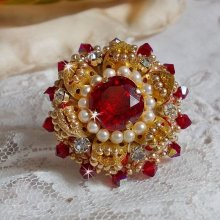 Bague Rouge Doré L'Oiseau des Iles, perles, cristal de Swarovski et rocailles
