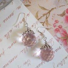 Boucles d'oreilles en boule de cristal Rose Irisé