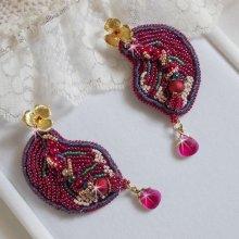 Boucles d'oreilles Enchantement d'Automne, perles, rocailles et Cristaux de Swarovski.