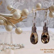 Boucles d'oreilles Merveilles  'Champagne' belle brillance