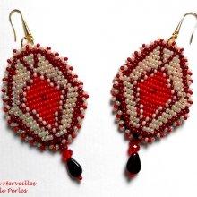 Boucles d'oreilles rocailles et perles 'Romane' style de charme