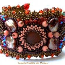 Bracelet brodé 'Topaz', belles pierres de gemmes