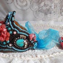 Bracelet Haute-Couture Naïade, belle bleu ces cabochons en Turquoise.