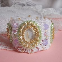 Bracelet manchette Envolée Fleurie tout en perles Miyuki et Swarovski