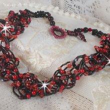 Collier cristal et perles 'Feeling', rouge et noir