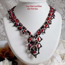 Collier cristal 'Ruby and Black' rouge,  noir et blanc