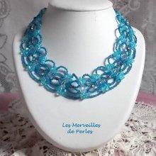Collier cristal 'Syracuse' bleu très coloré