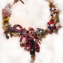 Collier 'Printemps Coloré' tourbillons de perles